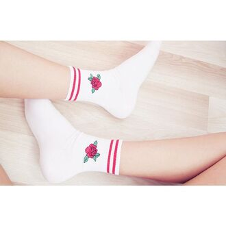 socks yeah bunny rose floral cute white red haveaniceday