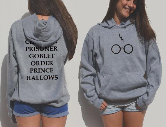 Harry Potter Hoddie Red Glasses Hogwarts Alumni BOOK Titles Sweater Sweatshirt
