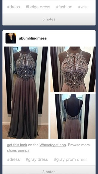 dress backless grey beaded pretty sequins