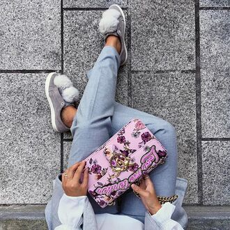 bag pink bag pants grey pants pom poms sneakers grey sneakers low top sneakers embellished embellished bag tumblr chain bag embroidered pom pom sneakers quote on it love quotes