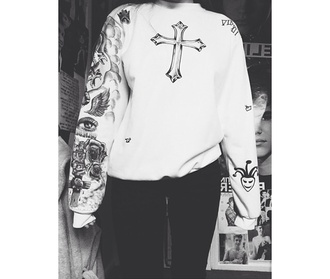 sweater justin bieber crewneck justin bieber tattoos white cross