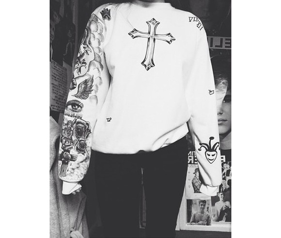 cross sweater justin bieber crew neck justin bieber tattoos white