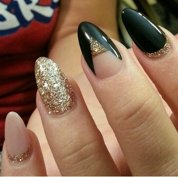 nail polish black nail polish gel polish glitter nude triangle blouse