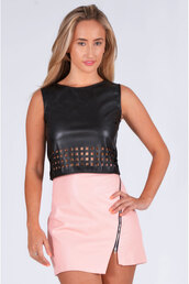 top,ustrendy top,ustrendy,cut out top,cut out hem,leather top,leather,faux leather,trendy,ootn