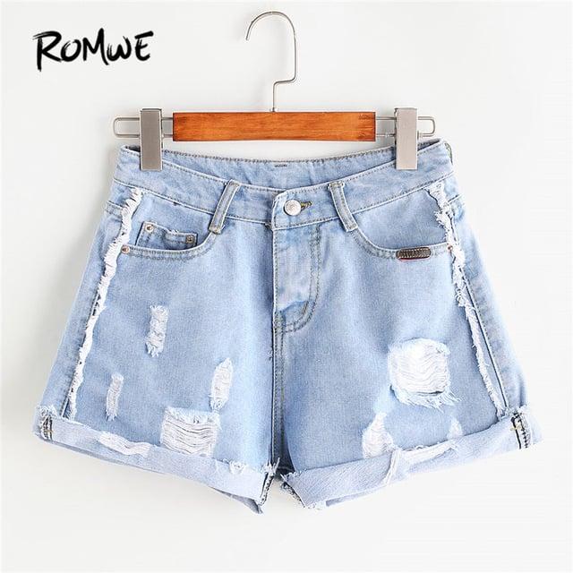 Frayed Rolled Hem Denim Shorts 2018 New Straight Leg Zipper Fly Female Bottom Summer Blue Ripped Casual Shorts PTC 705