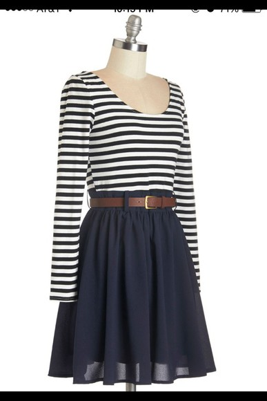navy black and white dress stripes black and white stripes black and white stripped navy dress striped dress belt brown belt black striped skirt