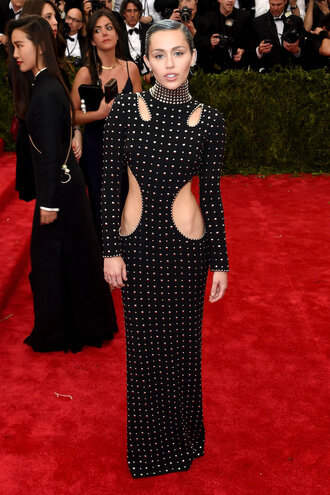 dress gown miley cyrus cut-out red carpet dress met gala metgala2015
