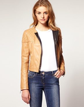 Asos contrast quilted leather biker at asos
