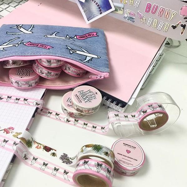 home accessory yeah bunny dog frenchie handmade washi tape tape masking tape