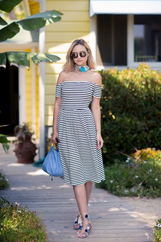 late afternoon blogger shoes sunglasses scarf jewels off the shoulder striped dress lace up flats round sunglasses