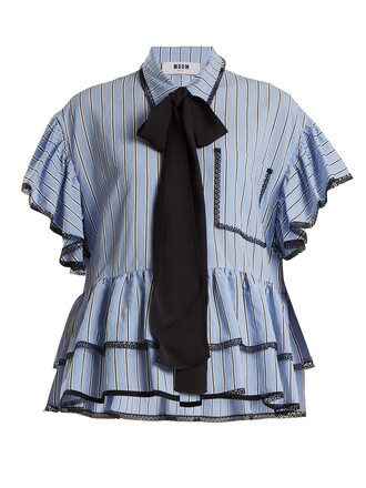 shirt striped shirt ruffle lace blue top