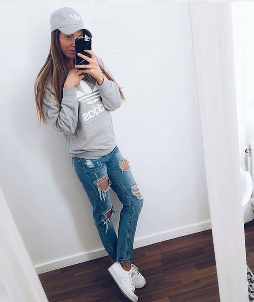hat sweater jeans ripped jeans adidas cap cap grey adidas sweater 057ab8f8fdb