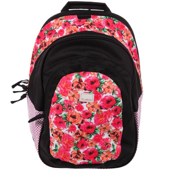 billabong bag backpack rose roses floral pink school school bag