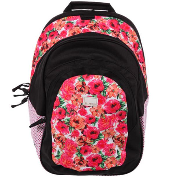 bag backpack billabong rose roses floral pink school school bag