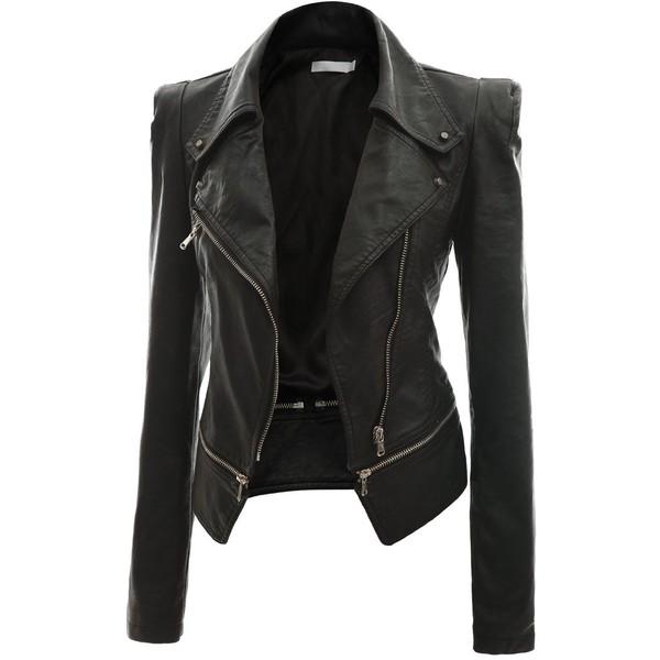 Doublju Women's Faux Leather Power Shoulder Jacket