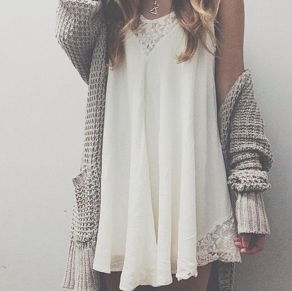 white dress lace crochet dress sweater hippie cardigan white short chunky cardigan necklace