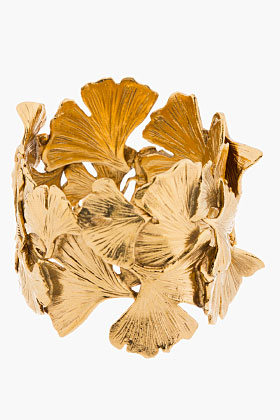 Aurélie Bidermann Gold Articulated Ginkgo Leaf Tangerine Cuff for women | SSENSE