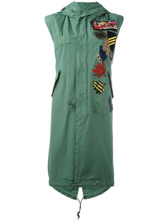 parka sleeveless women cotton green coat