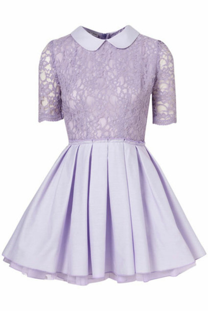 Dress: pastel, purple, lace, collar, fluffy - Wheretoget