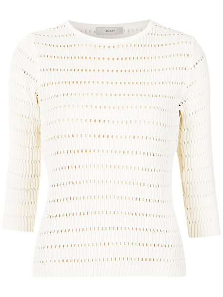 Egrey - open knit blouse - women - Viscose - P, White, Viscose