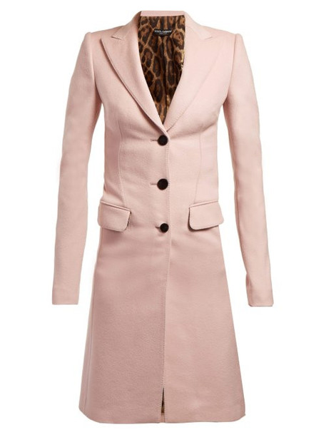 Dolce & Gabbana - Single Breasted Wool Coat - Womens - Pink