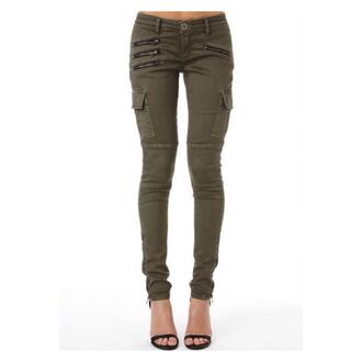 pants khaki pants olive green jeans zip cargo pants pockets skinny pants