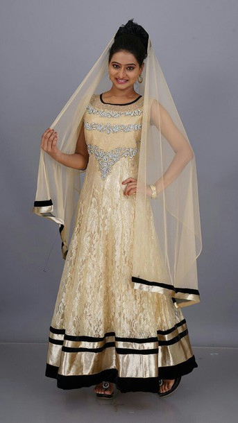dress indian attire gown ethnic gold sequins beautiful