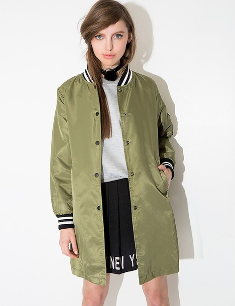 Jacket: pixie market, pixie market girl, olive jacket, long bomber ...