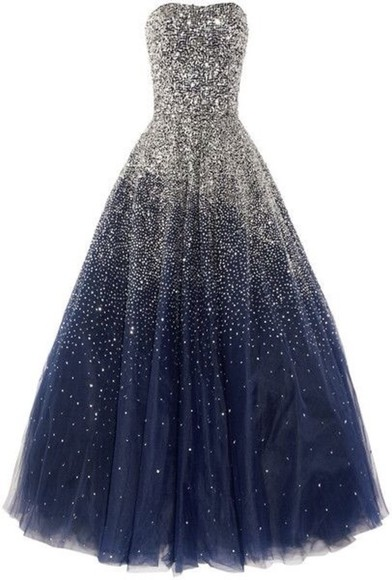 dress evening dress pretty prom jewels long beautiful blue midnight navy sky midnight blue