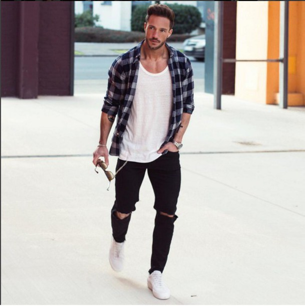 Top clothes jeans shirt t-shirt menswear mens shoes outfit outfit idea ripped jeans ...