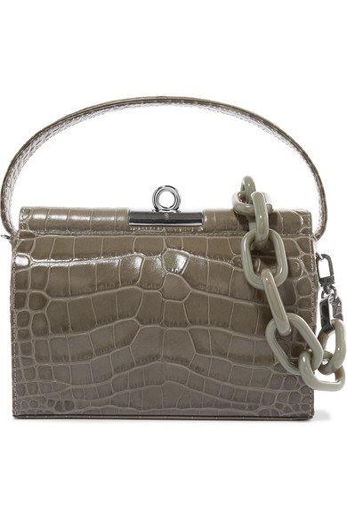 Gu_de - Milky Mini Croc-effect Leather Shoulder Bag - Green - Milky Mini Croc-effect Leather Shoulder Bag