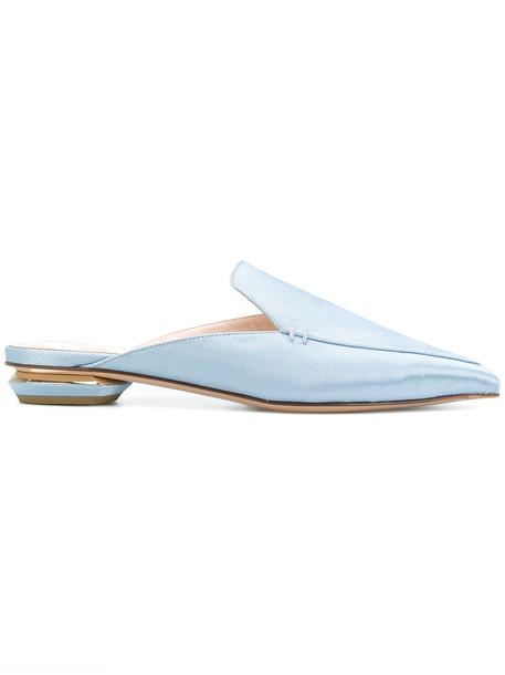Nicholas Kirkwood women mules leather cotton blue shoes