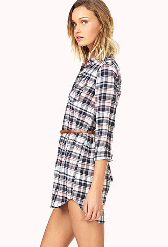 Laid Back Plaid Shirtdress w/ Belt | FOREVER21 - 2000064372