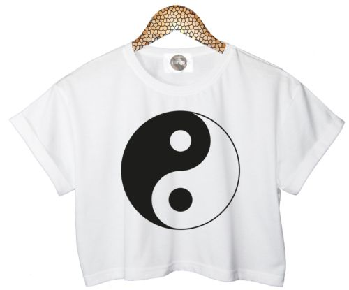 YIN YANG T SHIRT TOP CROP TANK HIPSTER RETRO WOMENS WHITE BLACK LADIES RELIGION