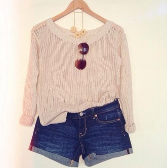 blouse knitted cardigan knitted sweater sweater neutral sunglasses cute adorable style shirt shorts jean shorts