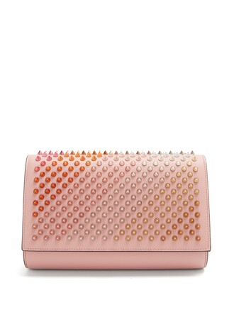 leather clutch embellished clutch leather pink bag