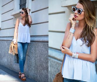 the fashion fruit blogger sunglasses spring blue top light blue cat eye fringed bag cuff bracelet