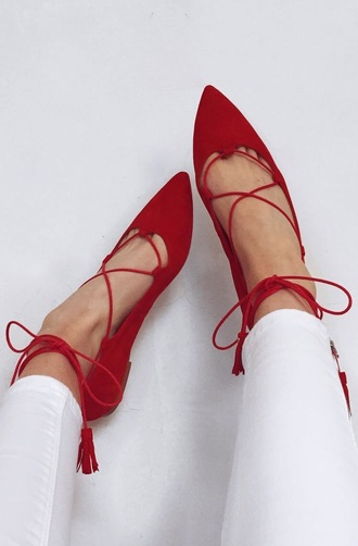 shoes cute red flats strappy