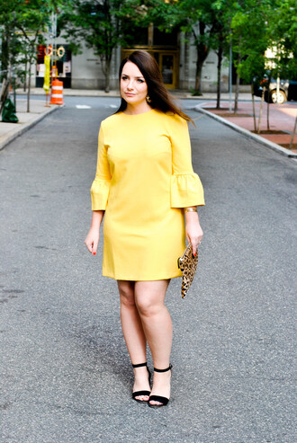 currentlycoveting blogger dress shoes jewels bag bell sleeves yellow dress clutch sandals high heel sandals summer outfits