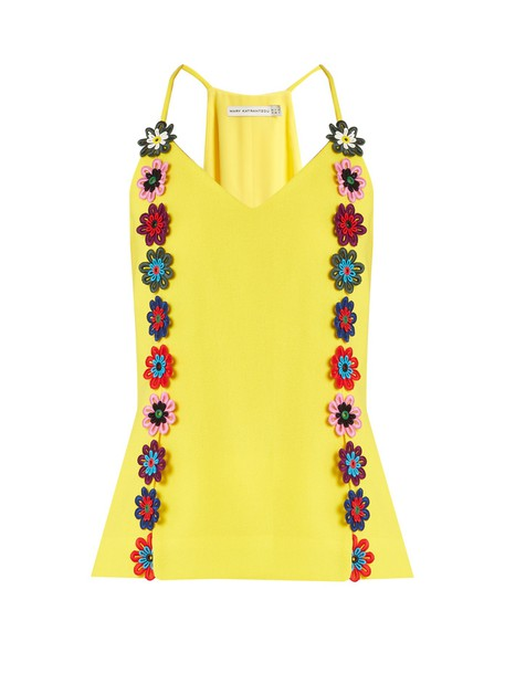 MARY KATRANTZOU top embellished lace floral yellow