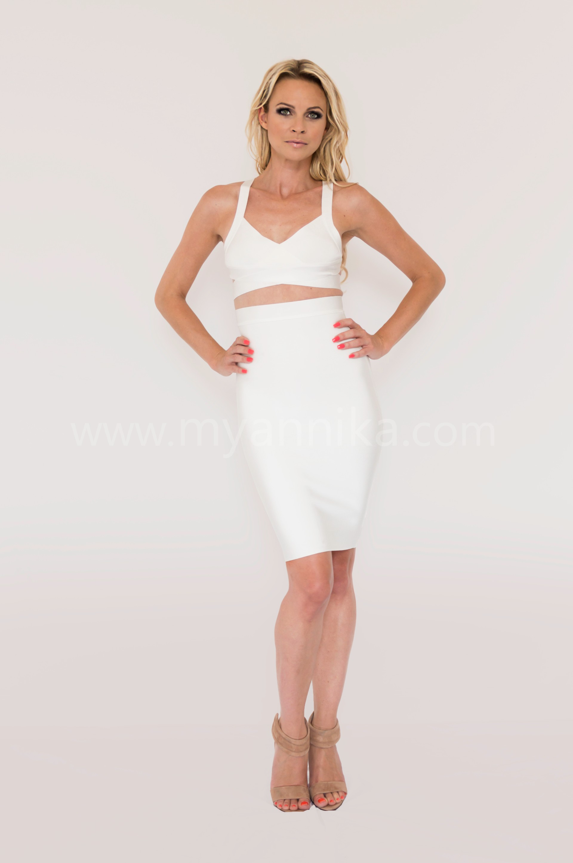 Malibu - White 2 Piece Celebrity Style Bandage Dress Combo with Pencil Skirt and Crop Top Annika - Bandage Dresses | Celebrity Party Dresses | Herve Leger Dresses Dress detail