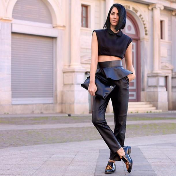 pants leather black trendy chic beautiful