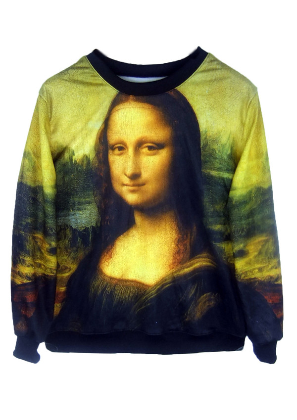 sweater mona lisa all over print sweatshirt pullover crewneck