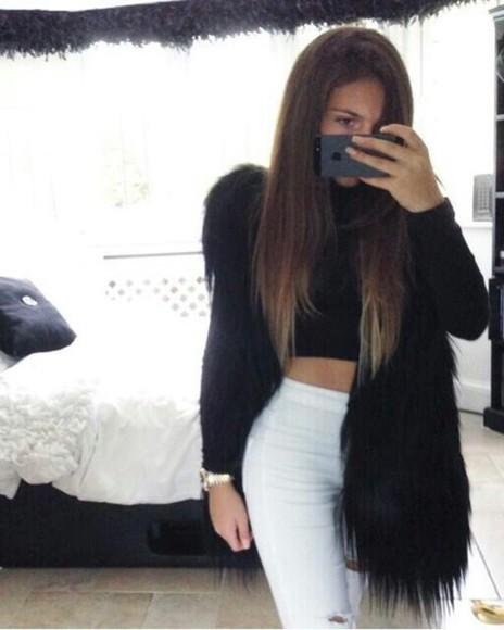 vest top fur vest fur