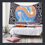 home accessory,rainbow handicraft,twin,tapestry,hippie wall hanging,mandala,yin yang,celestial,sun moon and stars,backdrop,hippie bedspread,bohemian,throw,cotton