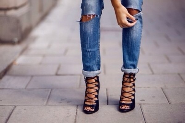shoes jeans these shoes in black black sandals leather high heels heels with straps strappy heels strappy heels black heels lace up black gladiator heels lace up high heels lace up heels