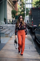 pants,tumblr,orange,wide-leg pants,sweater,printed sweater,cropped sweater,fall outfits,fall colors,bag,sunglasses,shoes,velvet shoes