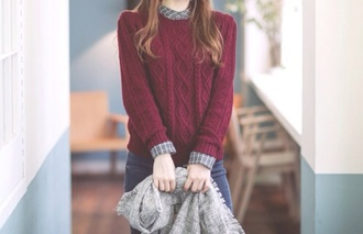 sweater bordeaux girl fashion