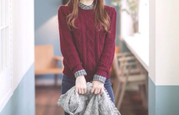 sweater burgundy girl fashion