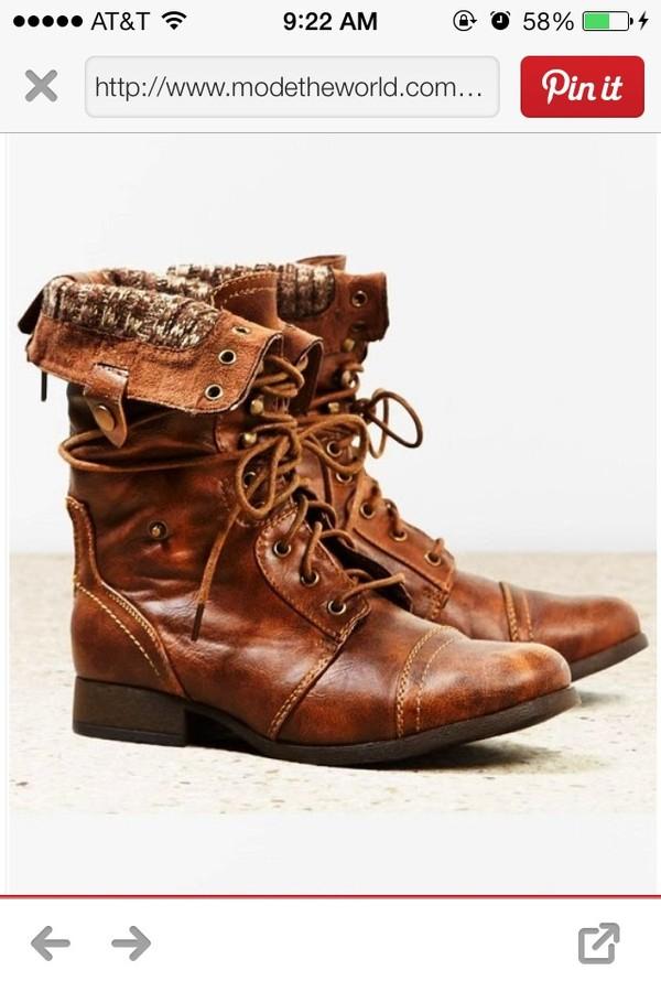 shoes cognac leather combat boots steve madden